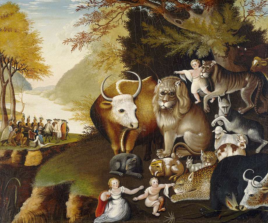 The Peaceable Kingdom by the American painter Edward Hicks. Courtesy Wikipedia.