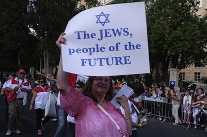 Thousands of evangelicals from around the world celebrate at the annual Sukkot parade in Jerusalem, September 24, 2013. © Eddie Gerald/Demotix/Corbis.