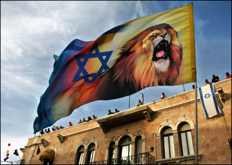 From a rooftop, Jerusalemites watch an evangelical Christian parade in support of Israel; a marcher carries a flag with a Star of David and a lion. © AP/Kevin Frayer, 2006.