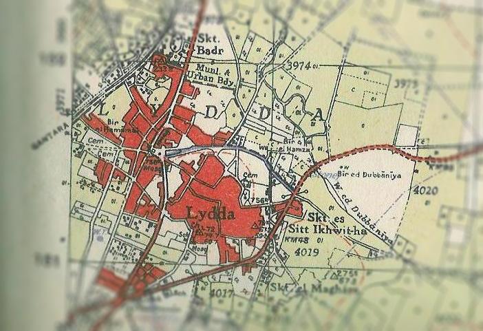 <em>A British map of the area around Lydda.</em>