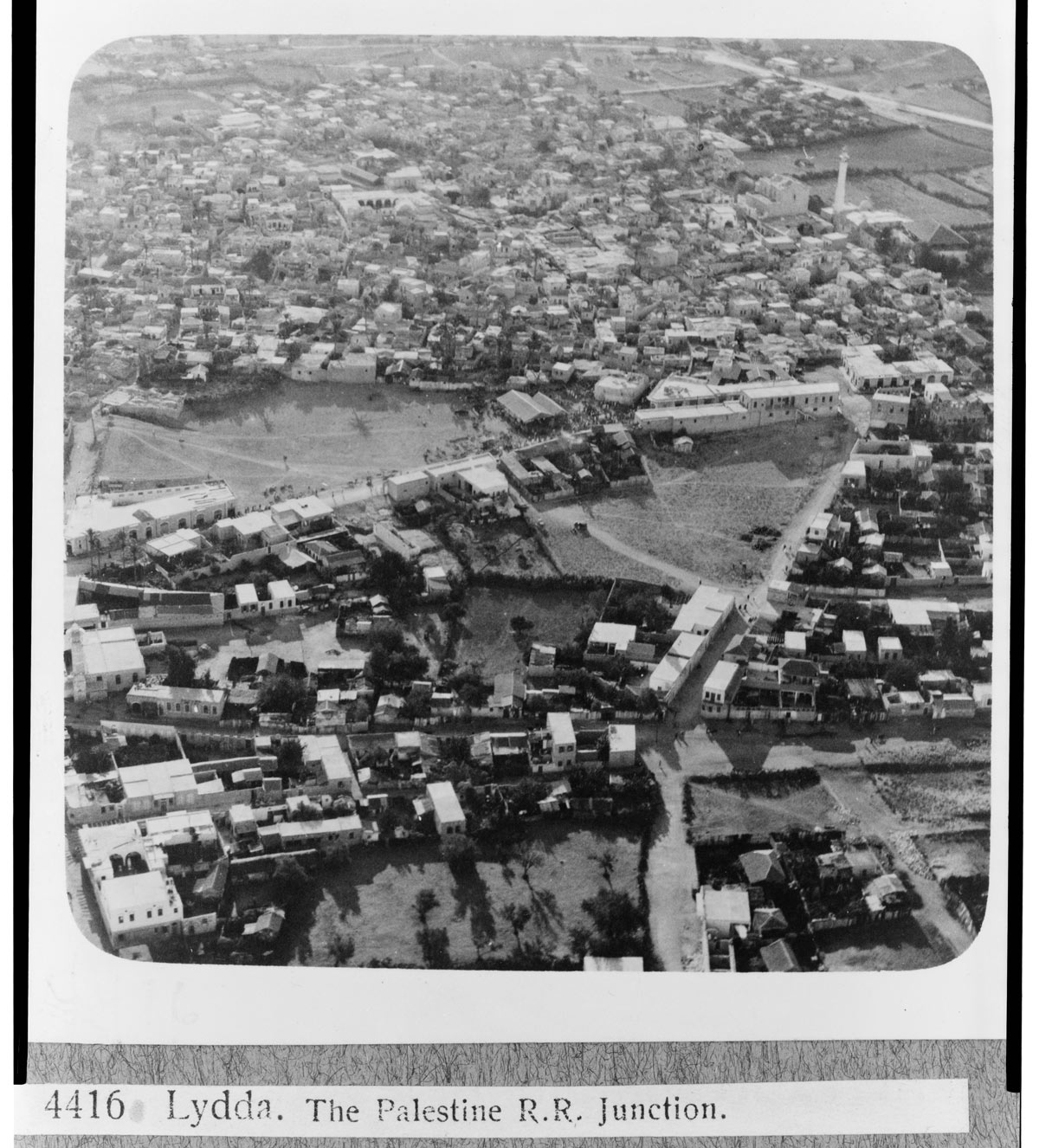 An aerial view of Lydda in the 1930s. From the G. Eric and Edith Matson Photograph Collection, Library of Congress.