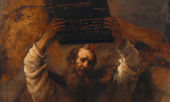 <i>Moses Smashing the Tables of the Law</i> Rembrandt van Rijn, 1659. Gemäldegalerie, Berlin.