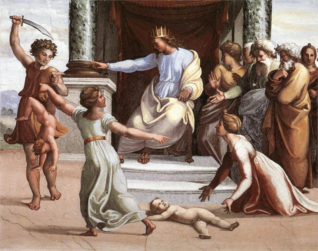 <i>The Judgment of Solomon</i> Raphael, 1519. Palazzi Pontifici, Vatican.